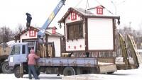 На площади у «Современника» установили новогодние световые домики (видео)