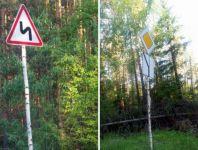 Власти пригорода повесили дорожные знаки на берёзках вдоль «убитой» дороги (фото)